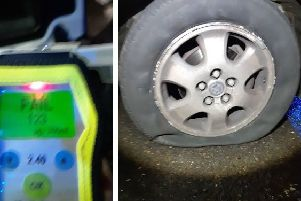 The breath test reading and the flat tyre. Photos: Cambridgeshire police
