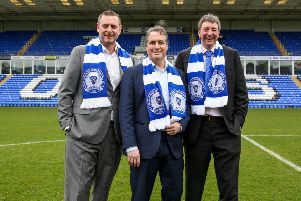 Posh co-owners, from left, Darragh MacAnthony, Stewart 'Randy' Thompson and Dr Jason Neale.