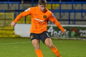 Jerry Thompson playing for Carrick Rangers.