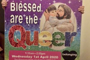 A row has broken out over the image of Christ kissing a young child for the 'Blessed are the Queer' conference.