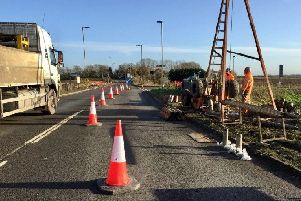 Recent roadworks on the A605 near the B1095 junction