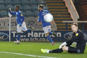 Siriki Dembele of Peterborough United celebrates scoring against Wycombe. Photo: Joe Dent/theposh.com.