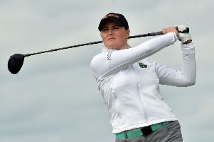 Olivia Mehaffey (Ireland) driving at the 6th tee in the third round of the 2018 World Amateur Team Championship (Esprito Santo Trophy) at Carton Housen