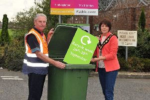 Lord Mayor of Armagh City, Banbridge and Craigavon, Councilor Julie Flaherty launches Recycling Week with Michael Campbell, site supervisor at the New Line Recycling Centre and Amenity Site, Lurgan.