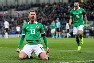 Northern Ireland's Corry Evans celebrates after scoring an equalising goal against Austria