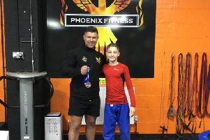 Ethan Steele and sponsor Jack Johnson, of Phoenix Fitness.