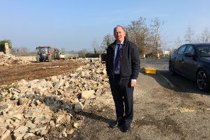 DUP MLA William Irwin at roadworks on the Legacorry Road Richhill