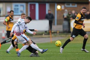 Jack Dixon scores Hastings United's winning goal against Cray Wanderers. Picture courtesy Scott White