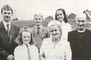 Mrs Sally McKee retired in 1993 after 24 years as a cleaner and supervisory assistant at Hardy Memorial Primary School. Marking the occasion were Judith Venard, Mrs McKee, Archdeacon AWR Colthurst, Dean Woods, Neil Hobson and Zoe Miller.