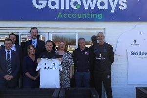 From left, Rob Andrew (Sussex CEO), Tom Bowen (Galloways), Alastair Hallows (Galloways), Lorna Sizer (Galloways), Ben Brown (Sussex Cricket captain), Gemma Gaines (Galloways), Matt Rourke (Galloways) & Jason Gillespie (Sussex head coach) with Sussex's new Specsavers County Championship shirt in front of the Galloways box / Picture: Sussex Cricket