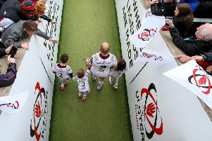 Ulster captain Rory Best emerges from the tunnel at Kingspan Stadium with his children Ben, Penny and Richie