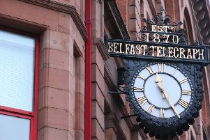 The scene at the old Belfast Telegraph building on Royal Avenue in Belfast city centre after the fire