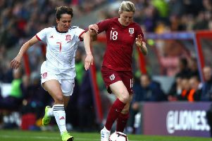 Ellen White on the ball for England. Picture: Getty