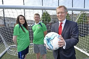Mark Graham, Chief Executive at Co-Ownership, pictured with Catrina Sheehan and Gavin Martin from Street Soccer NI, the organisation that was awarded the Community Fund last year.