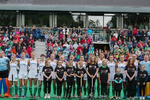 Ireland during the anthem before a game at the FIH Series Finals staged at Banbridge Hockey Club