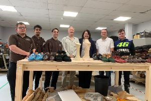 (L-R) Church's apprentices Harry Gayton, Bobby Nangla and Ricardo Coco, shoemaker Andy Burke, Northampton Museum & Art Gallery senior shoe curator Rebecca Shawcross, and Loake apprentices Ben Smith and Matthew Hunt. Photo: Northampton Borough Council