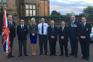 At the Somme Commemoration Parade are (from left) Jonathan Johns, Lexi Davidson, Carla Lockhart, Ashley Forbes, Richard Edgar, Robin Swann, Doug Beattie and David Martin.