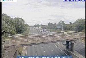 An entire stretch of the M1 southbound between J16 and J18 has been closed.