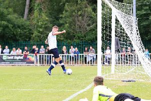 James Collins scores his second at Welwyn Garden City on Saturday