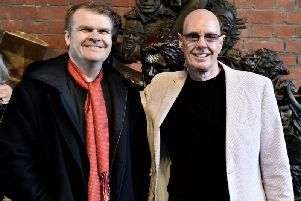 Rob Stringer and David Stopps at the unveiling of the Earthly Messenger statue