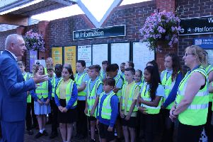 GTR chief executive Patrick Verwer talking to pupils from River Beach Primary School at Littlehampton Ralway Station
