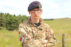 Ready for adventure: 16-year-old Cadet Sergeant Aaron Greer from Ballycarry, a member of the Whitehead Detachment ACF.