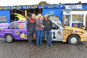 Ready to rock and roll and go all the way to Nice for The Two Ball Banger Rally ! - (left to right) ) Steve Harding of Moreland Motor Services Ltd in Gosport together with Deana Geary and her husband Chris Geary ''Picture: Malcolm Wells (190814-3252)