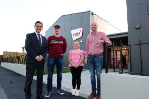 Derek Baker with Sammy Willis and Ruth Bell at the official opening of the new state of the art youth facility in Portadown following funding from the Department of Education's Voluntary Youth Capital Scheme. Also included is Darryn Causby, YMCA National Support Officer.Photo by Kelvin Boyes/Press Eye.