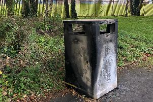 Bin set on fire
