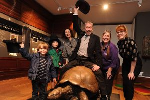 Visitors celebrate with 'Walter' at the museum in Tring. Picture by David Satchel