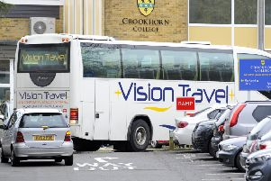 Pupils arriving back to Crookhorn College in Stakes Hill Road, Waterlooville. ''''Picture:  Malcolm Wells