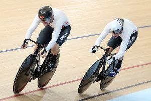 Joe Truman, right, in action in the team sprint at the Commonwealth Games