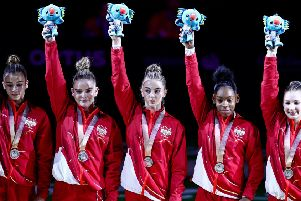 England's team of Kelly Simm, Lucy Stanhope, Georgia-Mae Fenton, Alice Kinsella, Taeja James celebrate Silver in the Women's Team Final at the Coomera Indoor Sports Centre during day two of the 2018 Commonwealth Games in the Gold Coast, Australia. Picture: Danny Lawson/ PA Wire