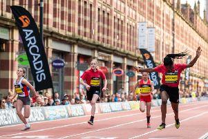 Ava Griggs, of City of Portsmouth, finishes second in the Great Schools Sprint in Manchester. Picture: Great Schools Sprint