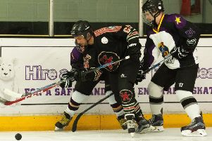 Action from the charity ice hockey match.''''Picture by Keith Woodland 180613-172319006