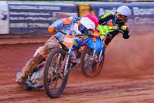 Wightlink Warriors' Danno Verge, left, is chased by Ryan Kinsley of Mildenhall Fen Tigers. Picture: Ian Groves/Sportography