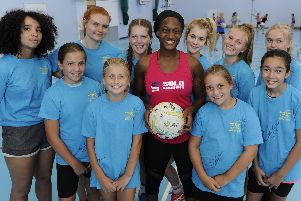 International Sasha Corbin took a coaching session for Shooting Stars at Admiral Lord Nelson School. Picture: Ian Hargreaves