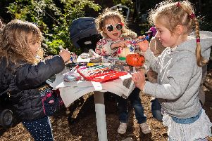 From left, Skye Tremain (3), Lyra Warner (4) and Alice Gallie (3) from Southsea decorating their mini pumpkins. Picture: Vernon Nash
