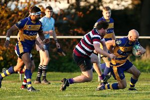 Dane Smallbone scores a try for Gosport & Fareham during the win against London Exiles. Picture: Chris Moorhouse