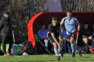 George Davey gets the ball moving for Fareham against Cardiff & Met. Picture Ian Hargreaves  (181118-1_hockey)