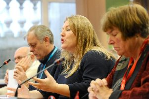Councillor Donna Jones at the Lib Dem cabinet meeting where investment in Victory Energy was scrapped by Portsmouth City Council. Picture: Sarah Standing (180850-9266)