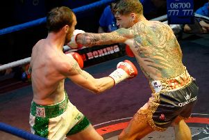 Joel McIntyre in the ring with Miles Shinkwin at Liquid & Envy in 2016 Picture: Neil Marshall