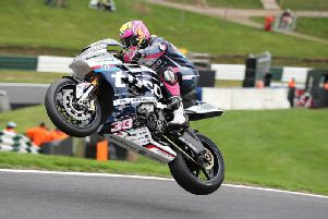 Keith Farmer on the Tyco BMW Superstock machine at Cadwell Park this season.