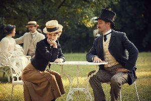 Keira Knightley as Sidonie-Gabrielle Colette and Dominic West as Henry Gauthier-Villars aka Willy in Colette.