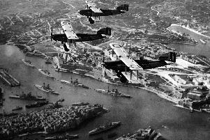 With Royal Navy battleships at anchor in Battleship Row, Grand Harbour, Malta, these pilots had a magnificent view.