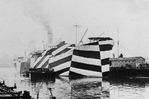 Dazzle paintwork taken to the extreme on the American SS Mahomet in 1918.