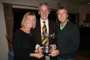 Faulkner Cup winners Patti and Steve Marriott with Immediate Past Leighton Club Captain Jeremy Taylor (centre).