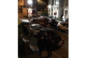 The Mercedes on its side after the crash in Gladys Avenue, North End, Portsmouth, last night (Sunday, January 27)