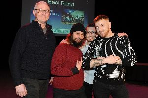Winners of the Best Band Award goes to Seething Akira, presented by Geoff Priestley of The Wedgewood Rooms. Picture: Sarah Standing (280119-7526)