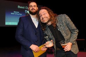 Will Chump, right, receives his Best DJ Award from The Astoria night club. Picture: Sarah Standing (280119-7493)